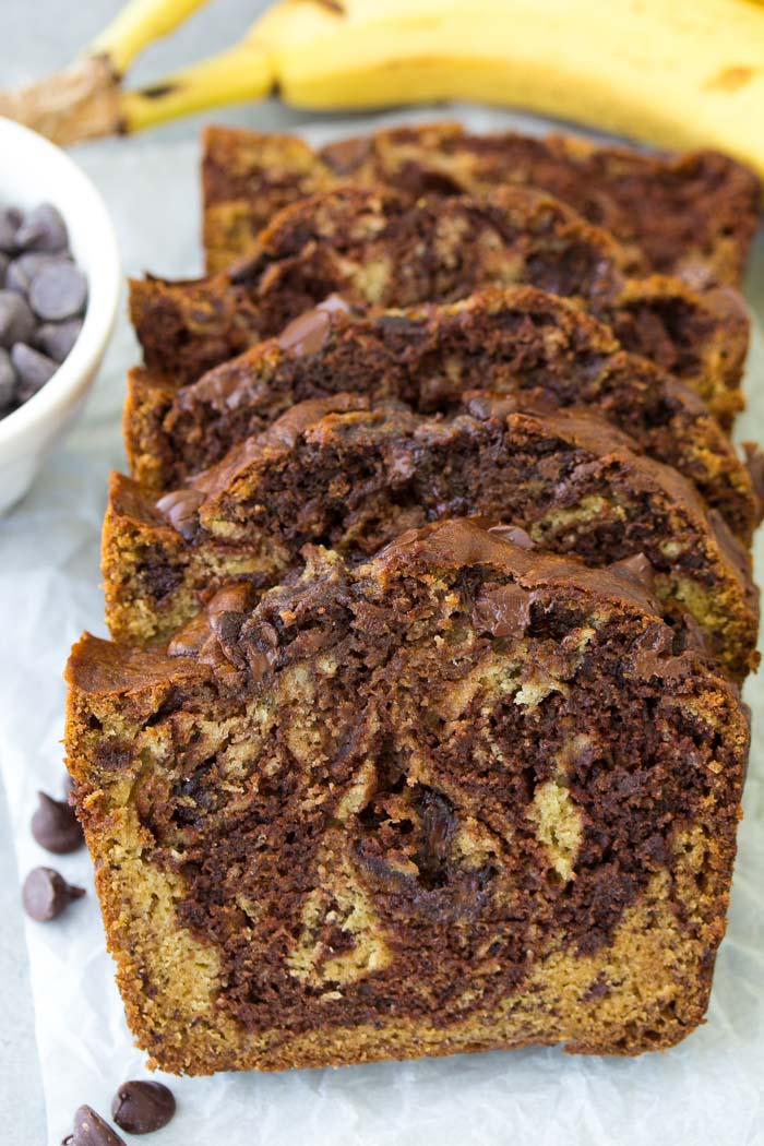 Slices of double chocolate chocolate chip banana bread.
