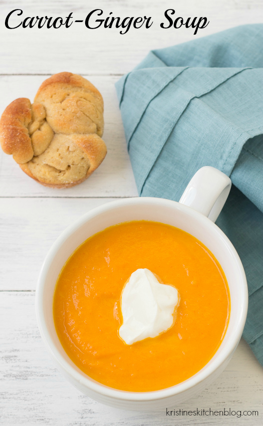 Carrot-Ginger Soup. My all-time favorite soup recipe! Six ingredients, quick & easy!   Kristine's Kitchen