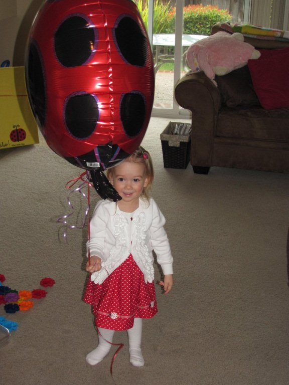 two year old with ladybug ballon