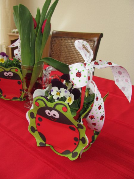 centerpieces for ladybug birthday party