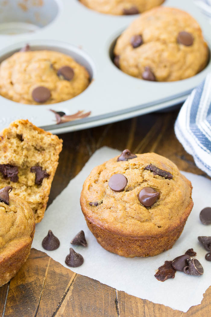 Peanut butter banana muffins with chocolate chips.