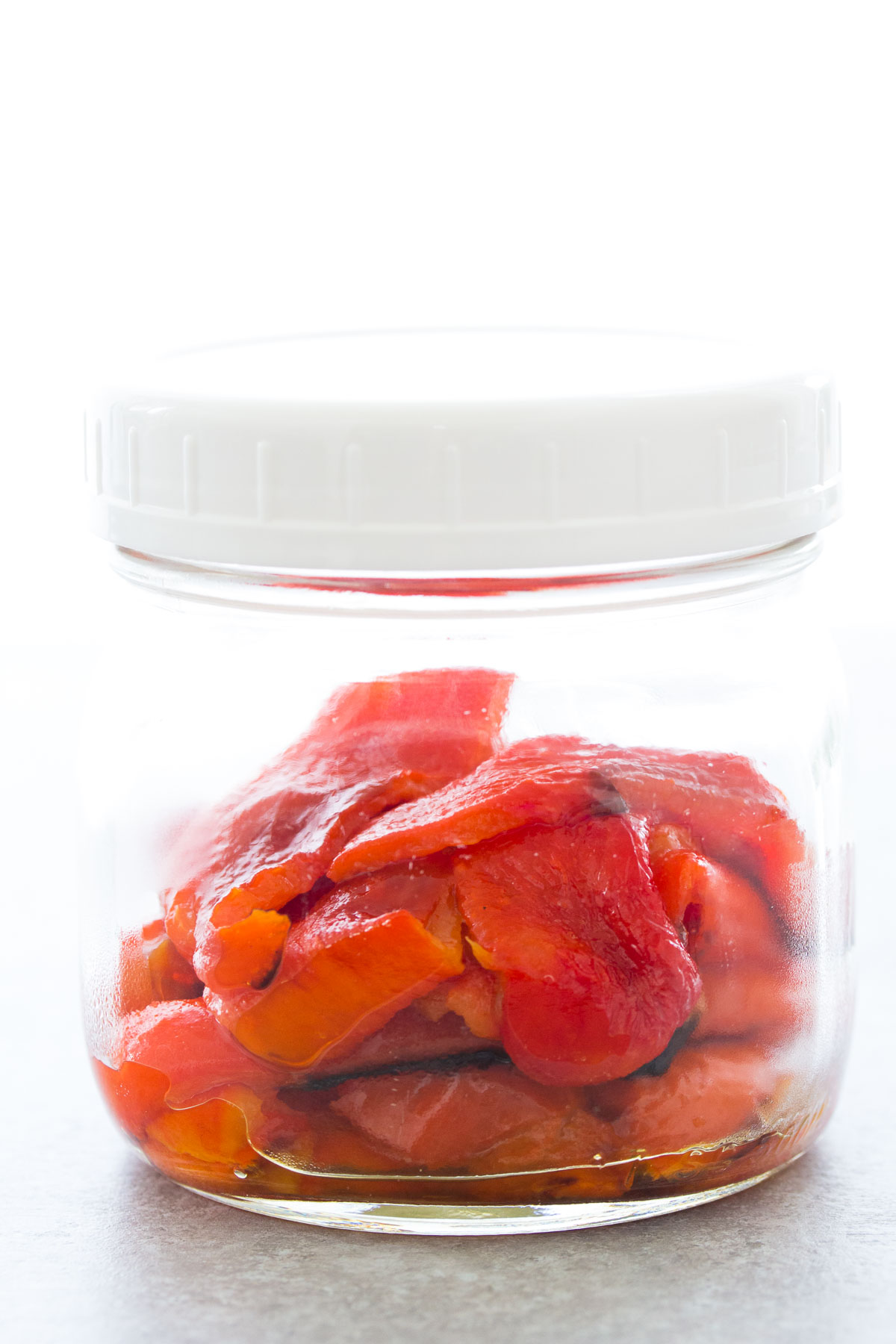 Roasted red peppers in a jar.
