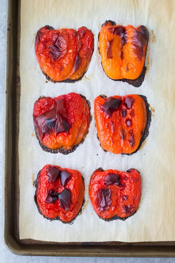 Peppers after roasting in the oven.