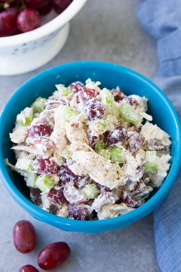 Chicken salad with grapes in a bowl. Easy recipe.