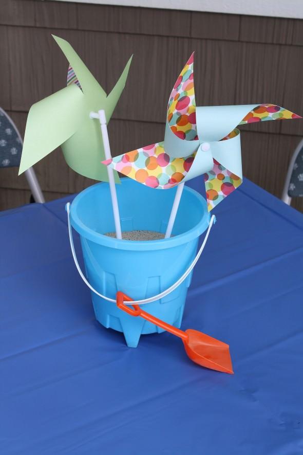 Pinwheels in Buckets centerpieces