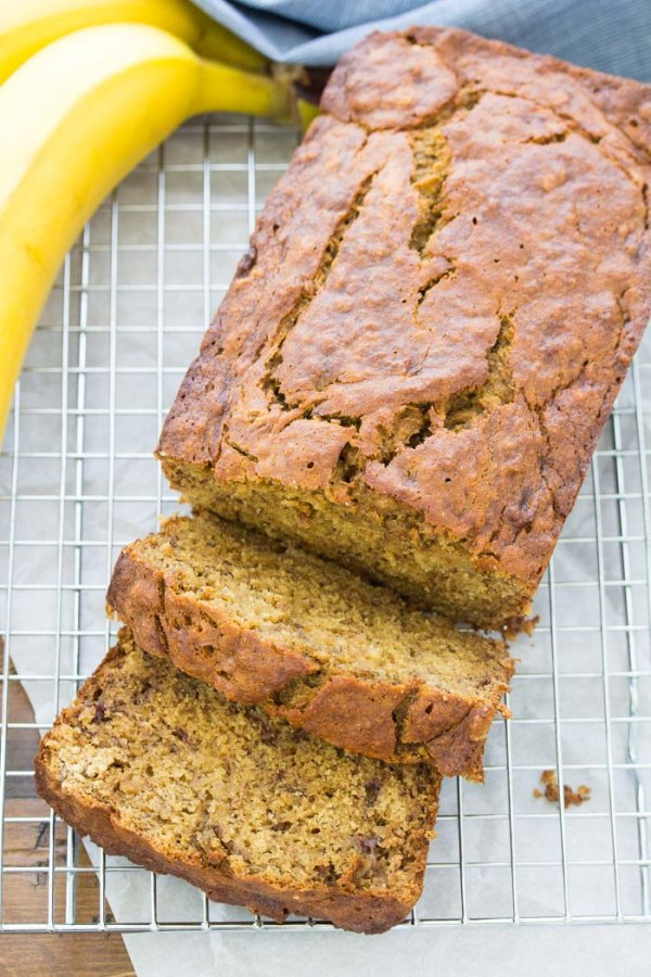 Loaf of brown butter banana bread, sliced.