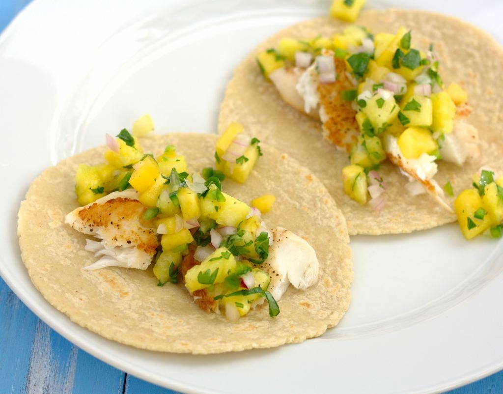 Fish Tacos with Pineapple-Peach Salsa~Kristine's Kitchen