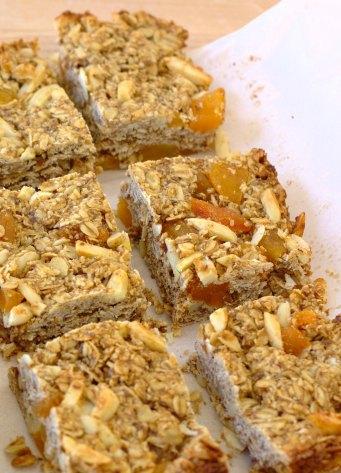 homemade granola bars cut into squares