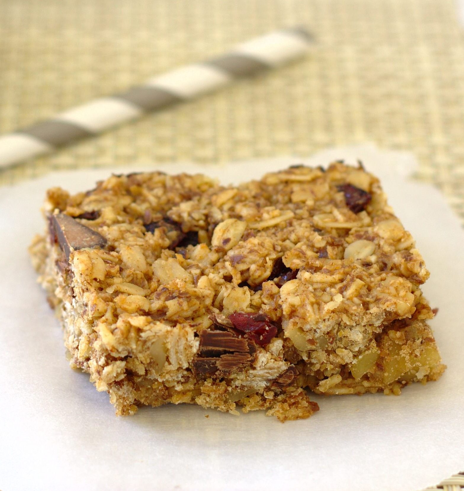 closeup view of granola bar
