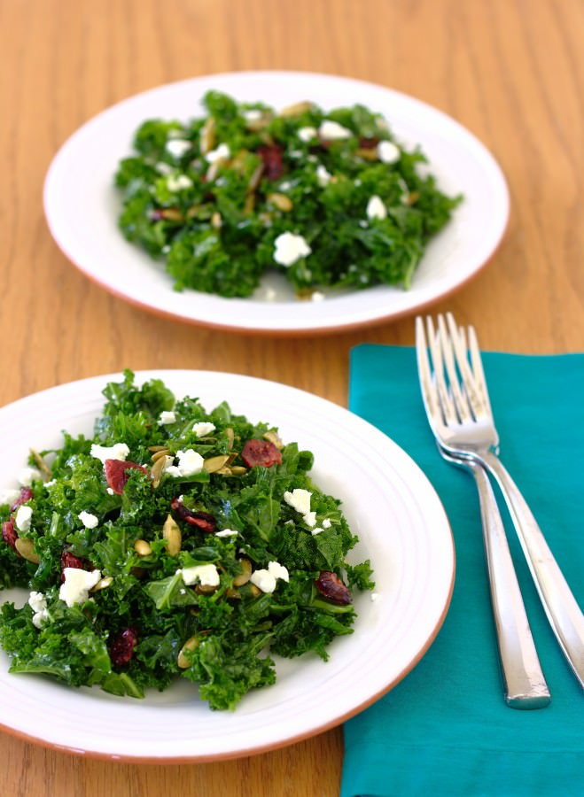 Massaged Kale Salad with Pepitas, Cranberries, and Goat Cheese