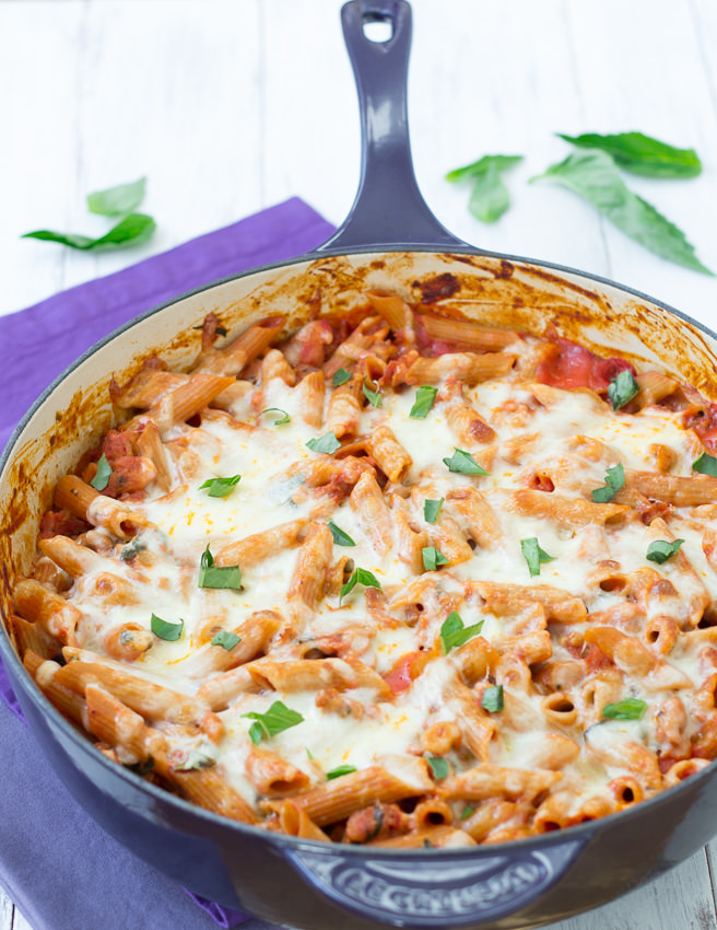 Skillet Baked Penne- cheesy baked pasta made in one dish - Kristine's Kitchen