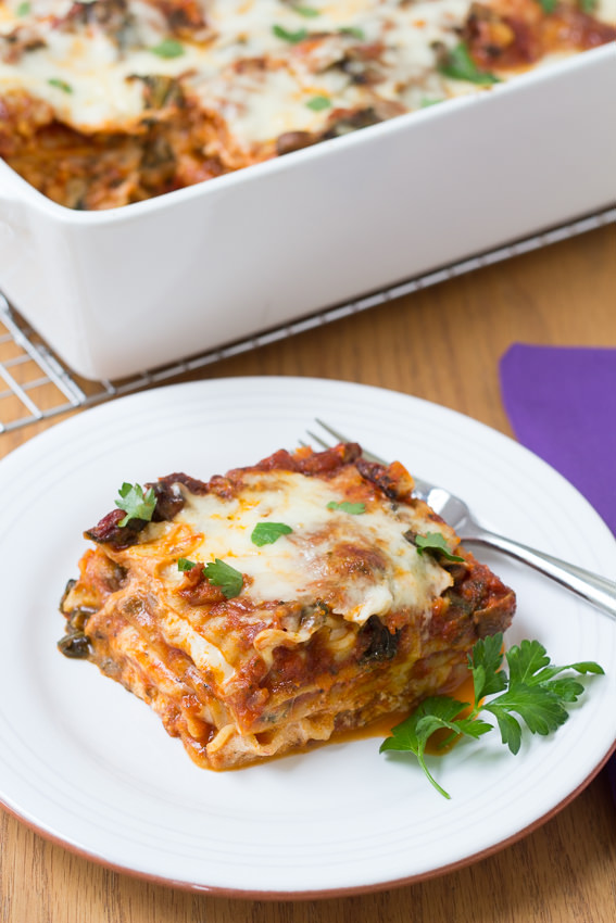 Kale and Baby Bella Lasagna - who knew a vegetable lasagna could be this good? ~ Kristine's Kitchen