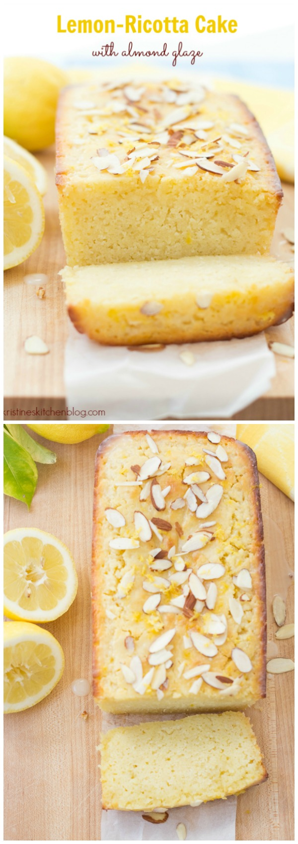 Lemon Ricotta Cake with Almond Glaze. This incredibly moist cake is bursting with bright citrus flavor!