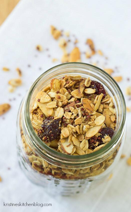 quinoa granola in a mason jar