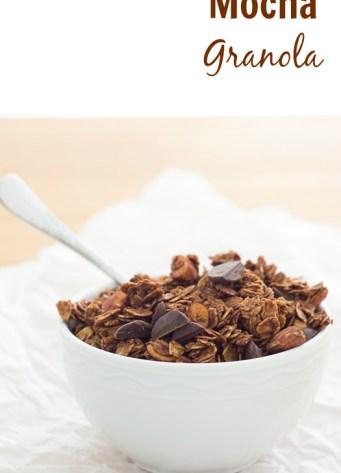 mocha granola in white bowl