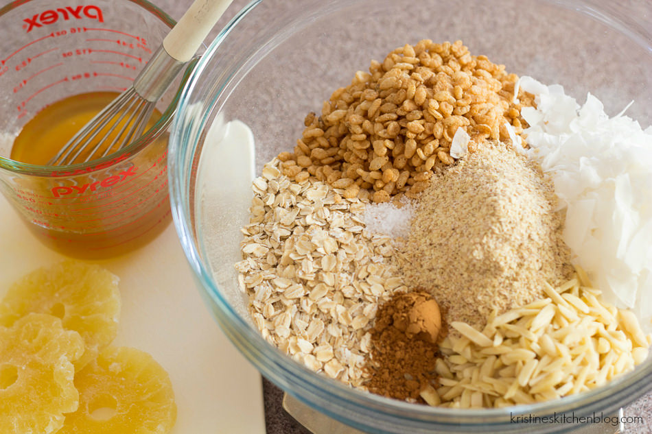 This Tropical Granola is lightly sweetened with toasted coconut, almonds, and pineapple.   Kristine's Kitchen