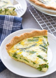 Asparagus Quiche with goat cheese. An easy quiche recipe.