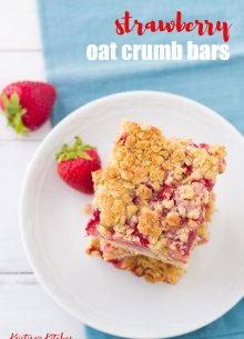 "A fresh strawberry filling and buttery oat crust will keep you coming back for ""just one more"" taste of these Strawberry Oat Crumb Bars! These fresh strawberry bars are a perfect spring and summer dessert. Try them for Mother's Day!"