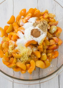 apricot crisp ingredients in bowl