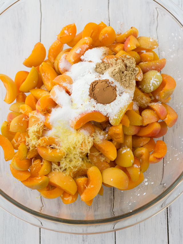 apricot crisp ingredients in a bowl ready to mix