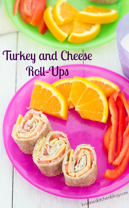Turkey and Cheese Roll-Ups are quick and easy for lunch! | Kristine's Kitchen