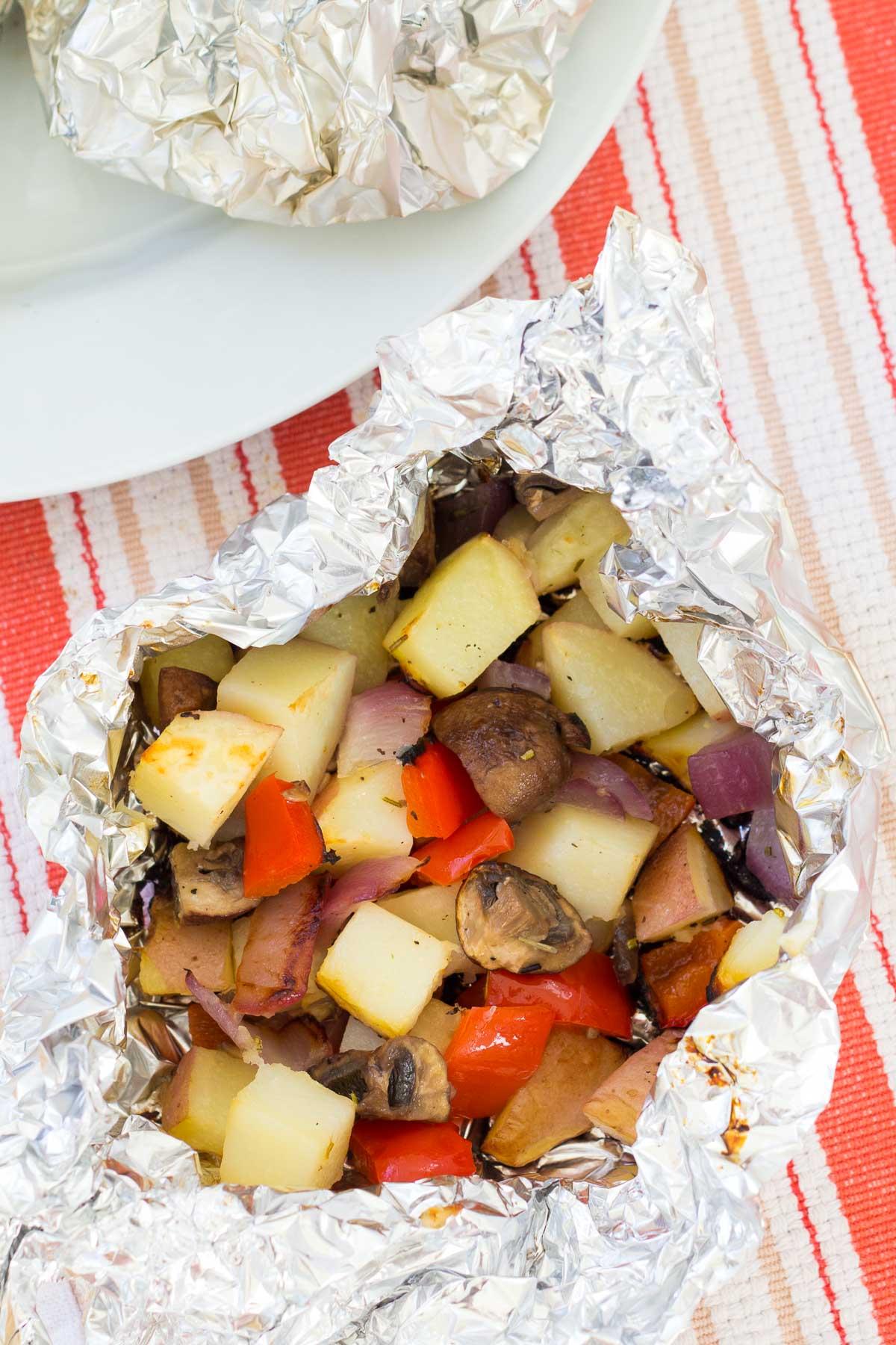 Grilled vegetables in foil packet.