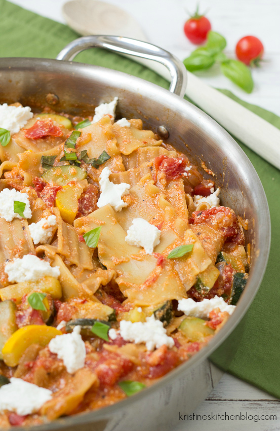 Summer Vegetable Skillet Lasagna - a healthy one-dish weeknight meal!   Kristine's Kitchen