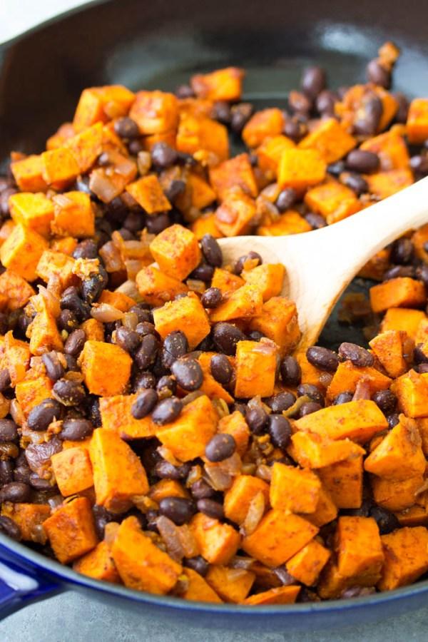 Sweet potato and black bean filling for vegetarian enchiladas.