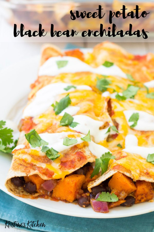 Sweet potato and black bean vegetarian enchiladas on a plate with sour cream.
