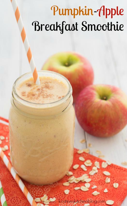 Pumpkin-Apple Breakfast Smoothie - a healthy fall smoothie!   Kristine's Kitchen