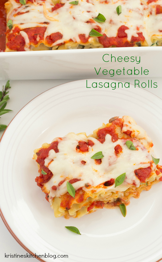Cheesy Vegetable Lasagna Rolls, filled with zucchini, mushrooms, and 3 cheeses | Kristine's Kitchen