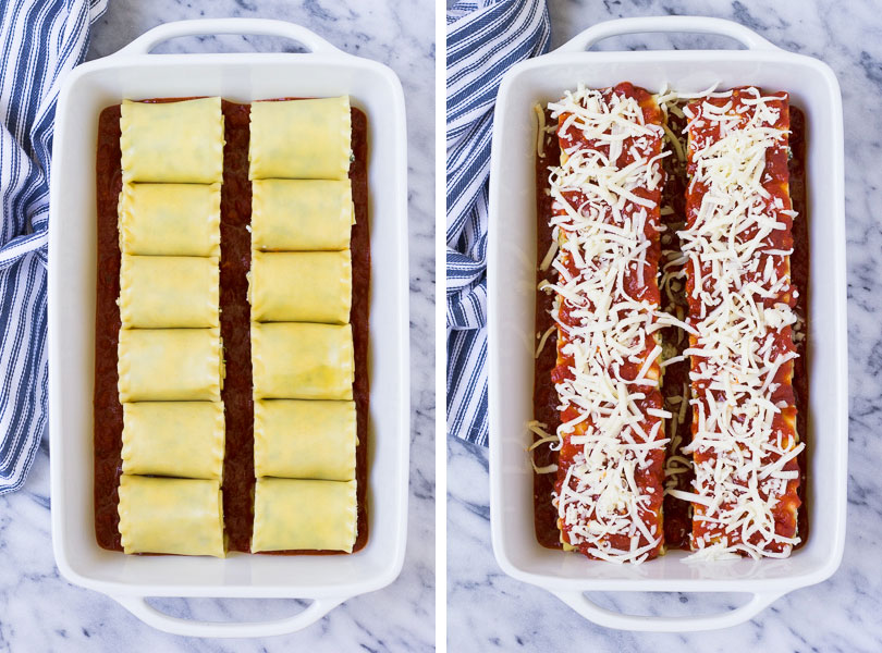 two photo collage showing lasagna rolls in baking dish plain and with sauce and cheese