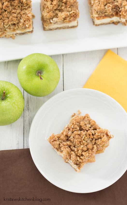 Caramel Apple Crumble Cheesecake Bars. Gluten-free, with a light & creamy Greek yogurt cheesecake | Kristine's Kitchen
