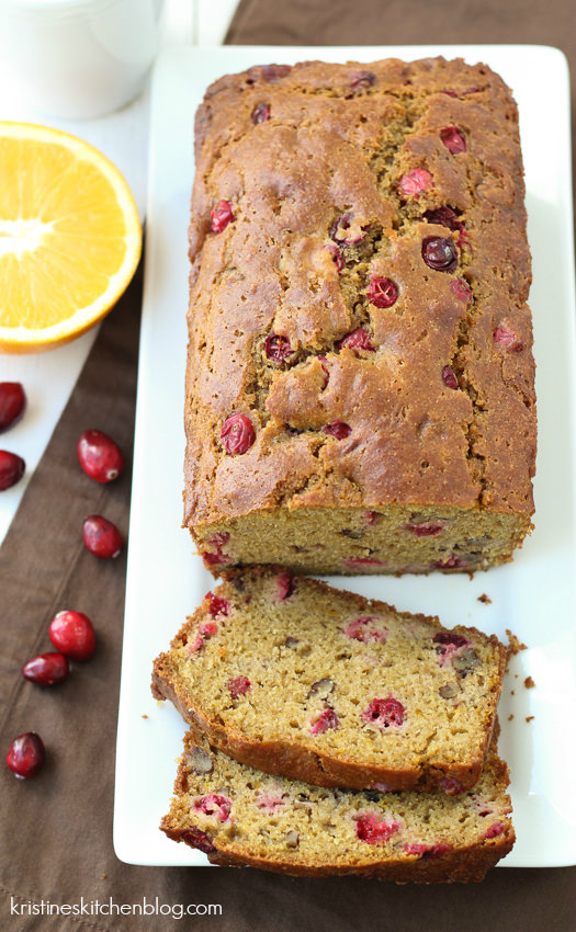 Cranberry Orange Pecan Quick Bread - a little tart, a little sweet, whole-wheat and no refined sugar! - Kristine's Kitchen