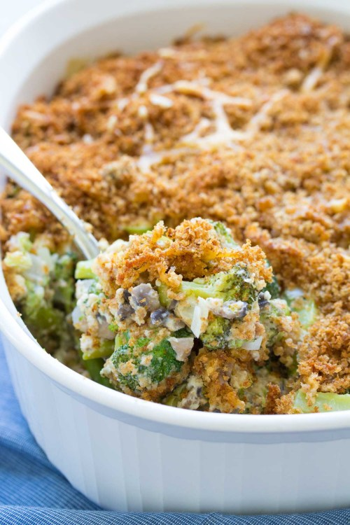 Broccoli casserole from scratch in a white casserole dish.