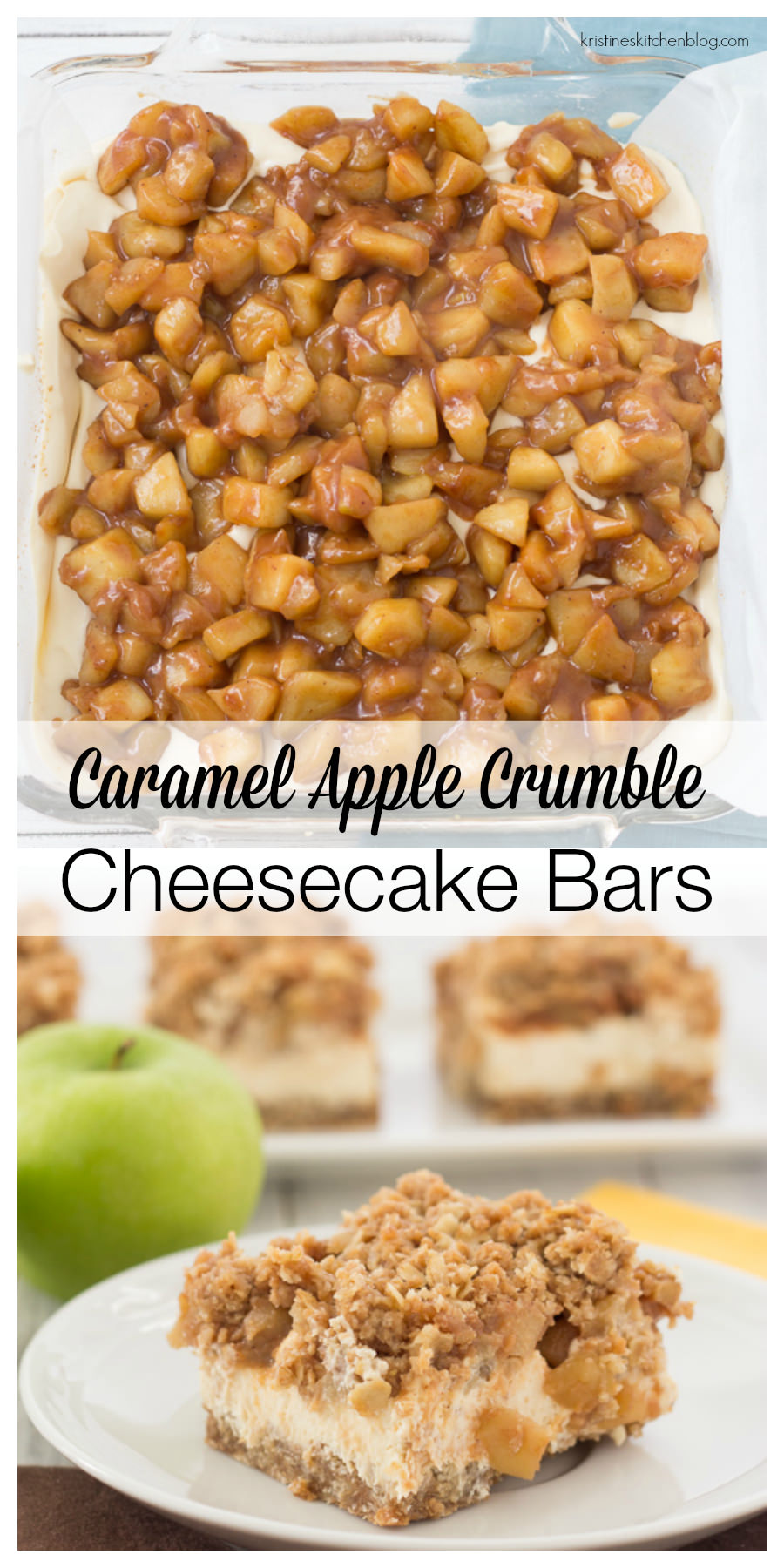 A caramelized oat crust, creamy Greek yogurt cheesecake, caramel apples, and crumb topping. Gluten-free.