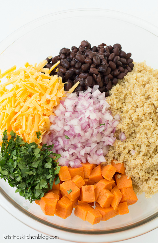 vegetarian enchilada casserole ingredients in a a bowl