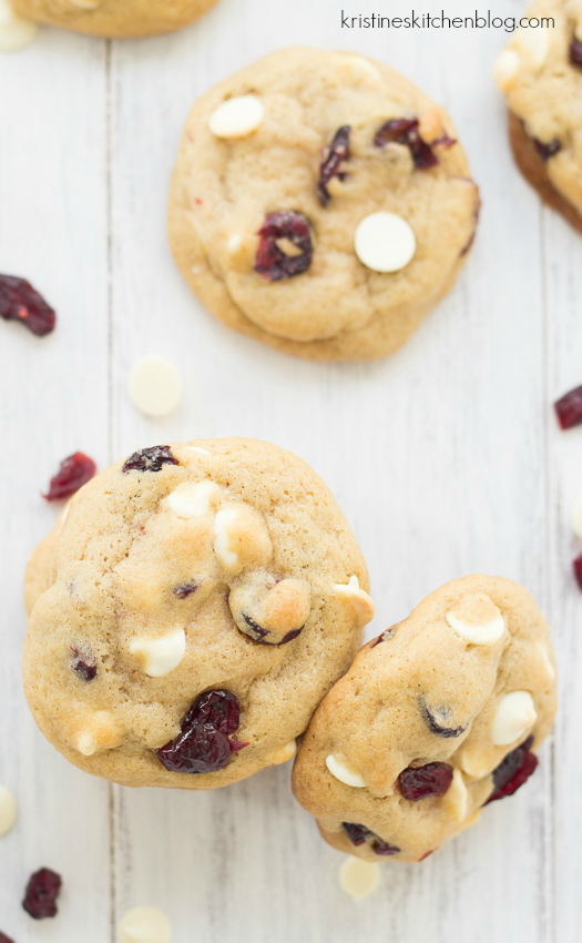 top down view of white chocolate cranberry cookies