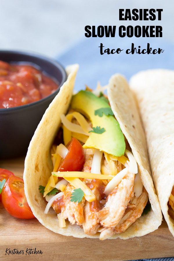 Easy Slow Cooker Taco Chicken | You only need 3 ingredients for this crockpot shredded chicken recipe! Use this chicken to make healthy tacos, enchiladas and salads!