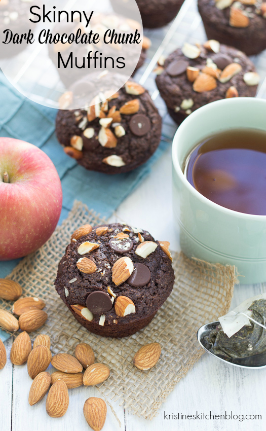 decorative image of chocolate muffins with almonds, sitting next to an apple and some tea with text title