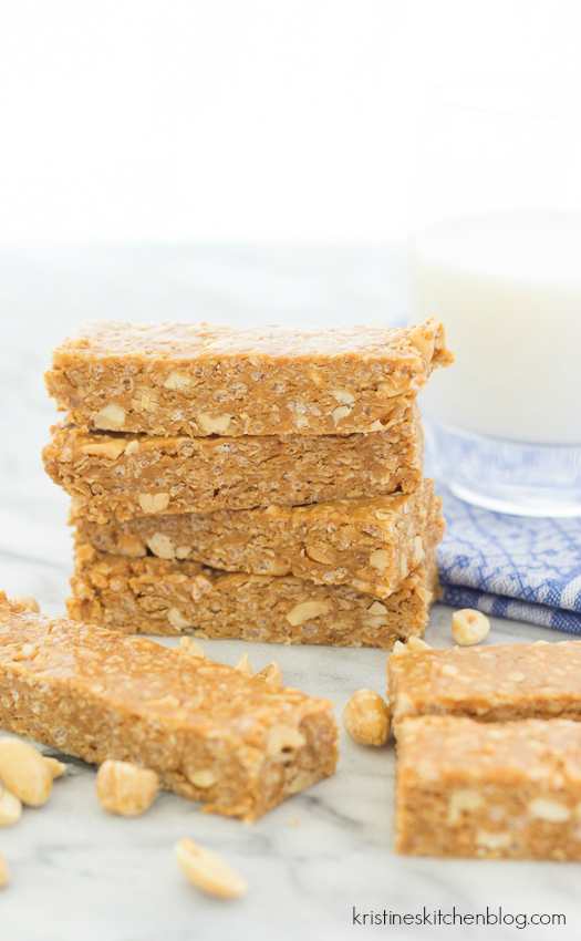 peanut butter granola bars stacked