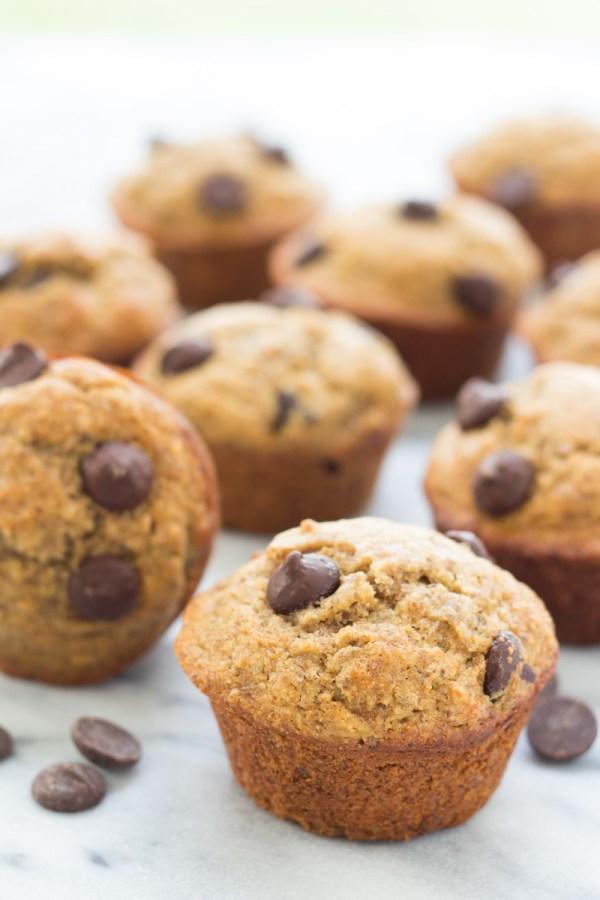 A batch of almond butter banana muffins.