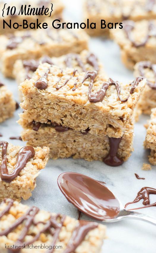 granola bar recipe image with text overlay 10 minute no-bake granola bars
