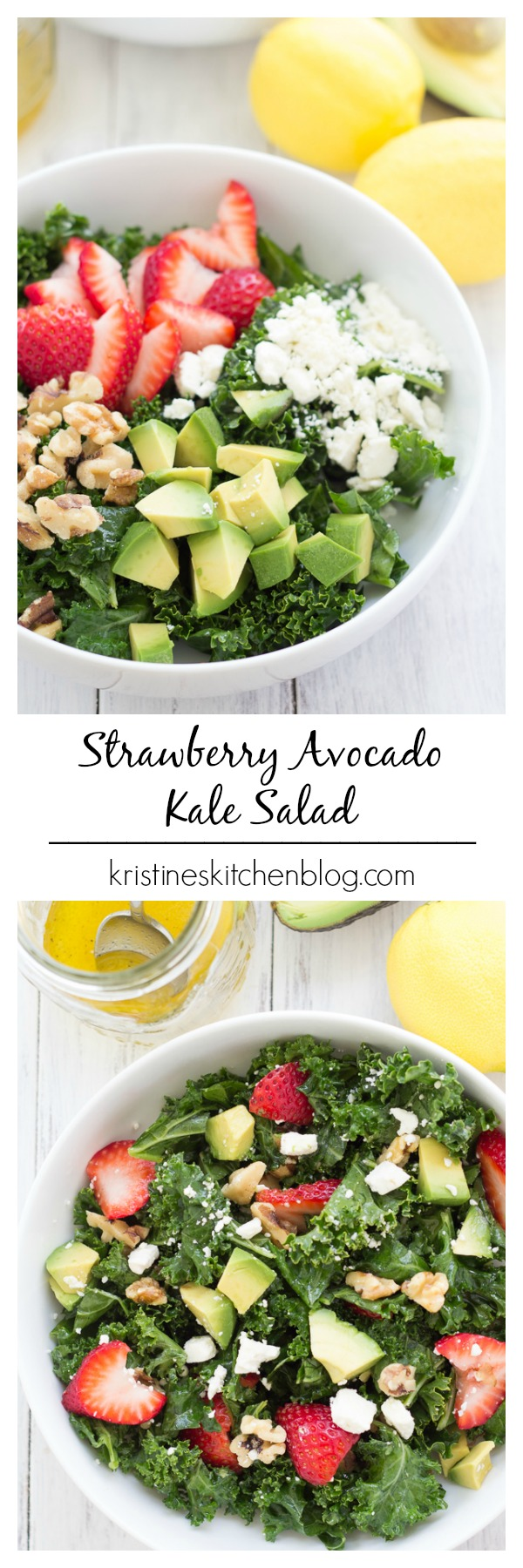 This Strawberry Avocado Kale Salad is healthy and packed with flavor!