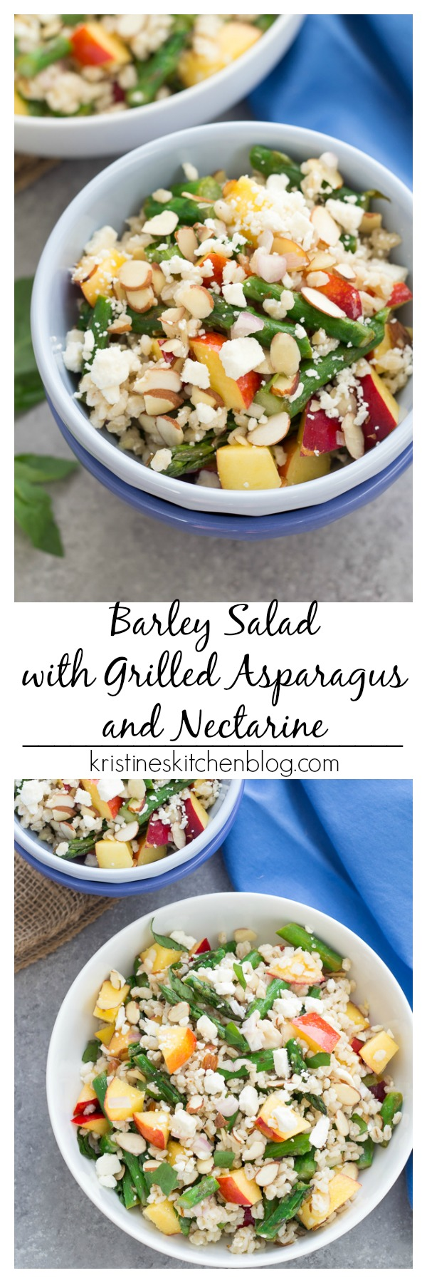 collage barley salad in a bowl