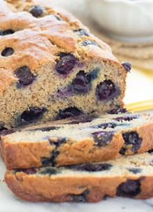 closeup of sliced blueberry banana bread