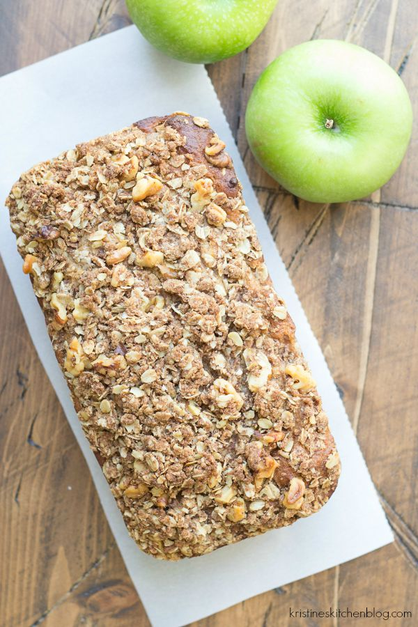 This Greek Yogurt Apple-Cinnamon Quick Bread is SO moist! It has a walnut oat streusel and is delicious for breakfast (or dessert)!