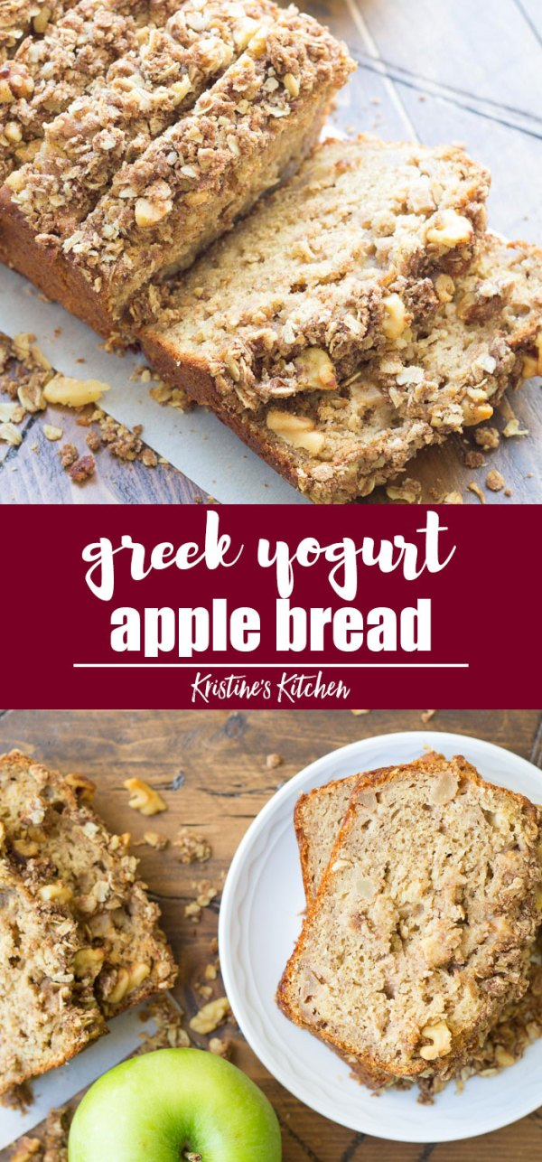 Healthy Cinnamon Apple Bread recipe with streusel topping! Greek yogurt makes this apple bread extra moist!