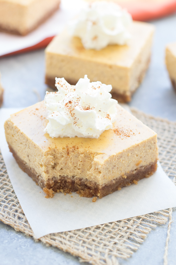 Pumpkin Cheesecake Bar with a bite missing