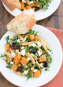 pasta with sweet potatoes and arugula